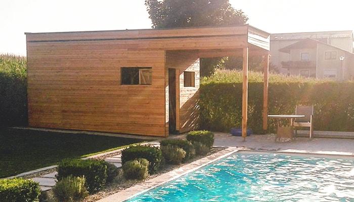 Poolhaus mit Pool Hattinger Holzbau GmbH Zimmerer im Innviertel
