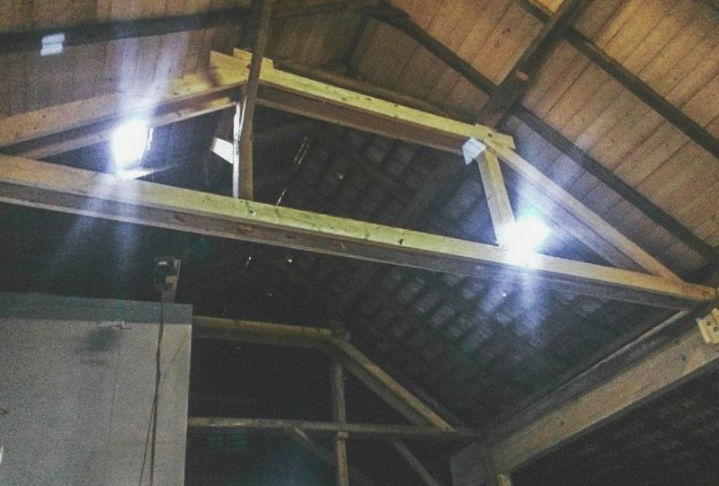 Restaurierter Dachstuhl Maschinenhalle